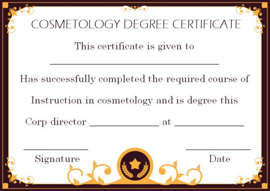 Cosmetology Degree Certificate