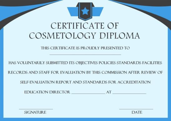Cosmetology Diploma Certificate