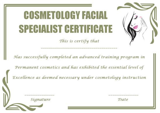 Cosmetology Facial Specialist Certificate