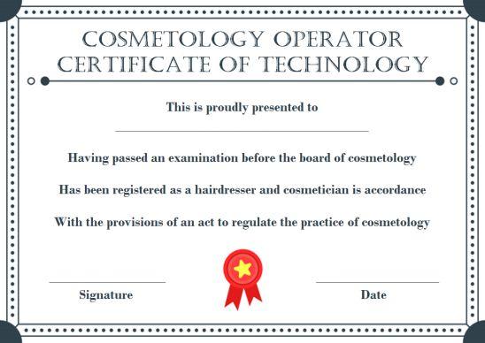 Cosmetology Operator Certificate Of Technology
