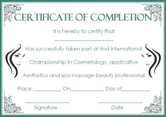 Cosmetology School Certificate