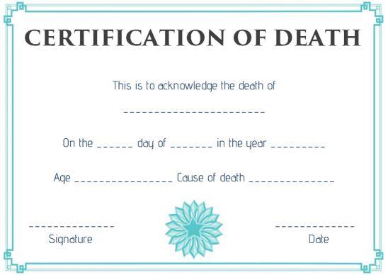 Death Certificate Affidavit Format