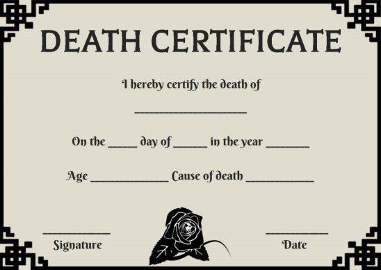 Death Certificate Application Format