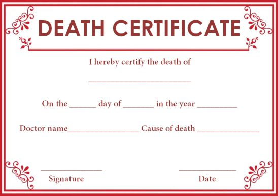 Death Certificate Format By Doctor