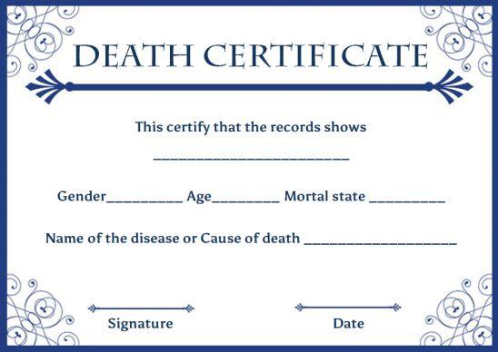 Death Certificate Sample Letter