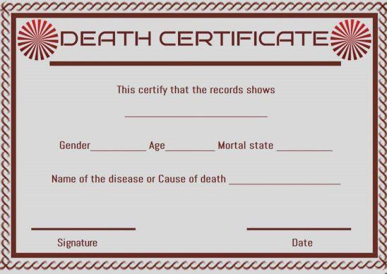 Death Certificate Translation Template
