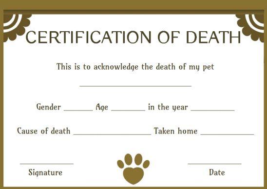 Dog Death Certificate Template