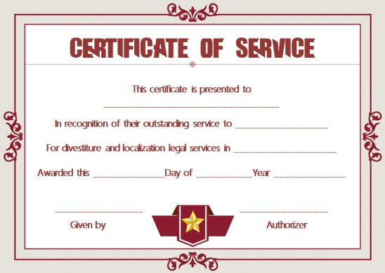 Employee Years Of Service Certificate Template