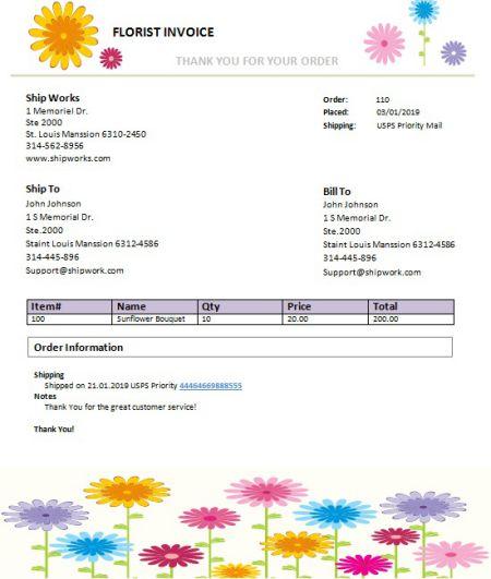 Floral Order Form Template