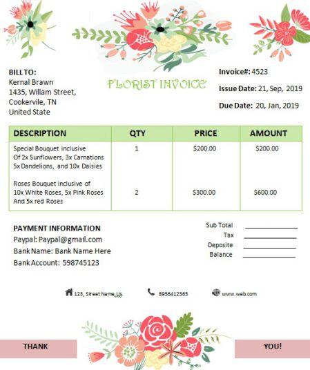 Florist Invoice Editable