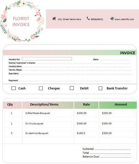 Florist Invoice Templates