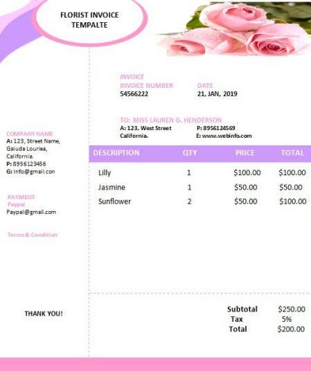 Free Florist Invoice Template