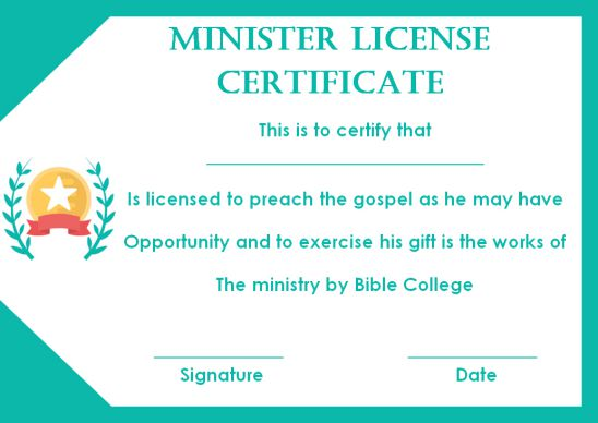 Free Minister License Certificate