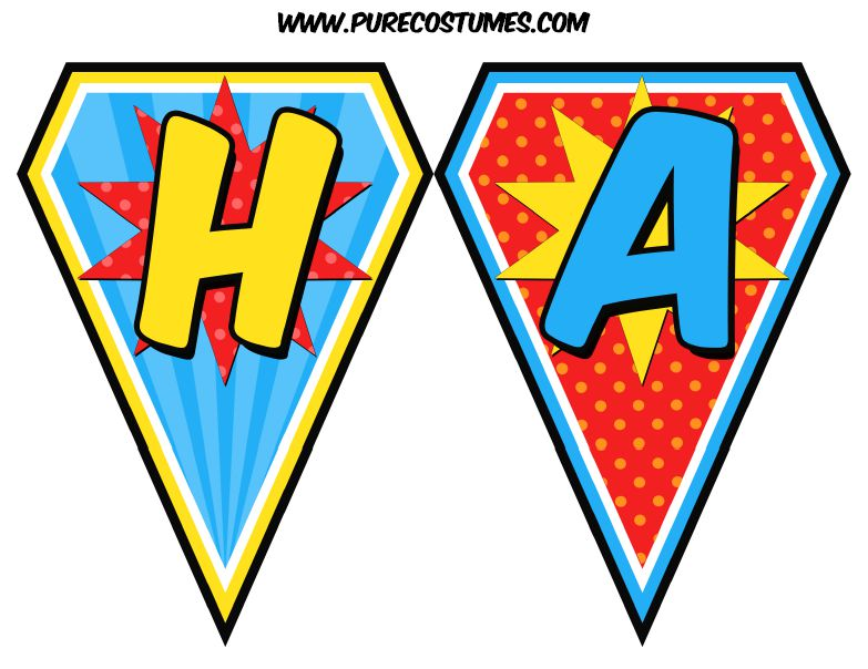 Free Super Hero Photo Booth Prop Templates 1