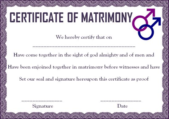 Gay Marriage Certificate