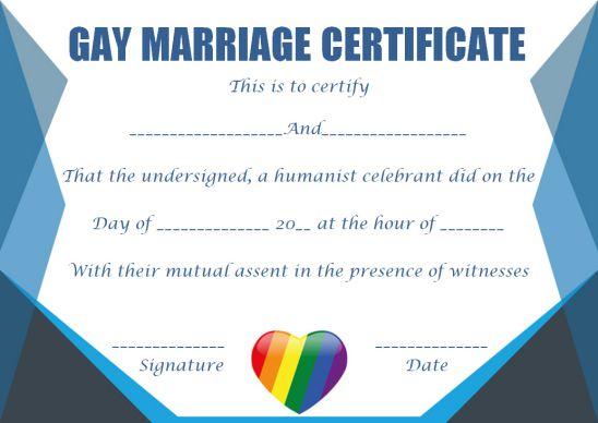Gay Marriage Certificate Cherubs