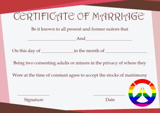 Gay Marriage Certificate Cherubs Template