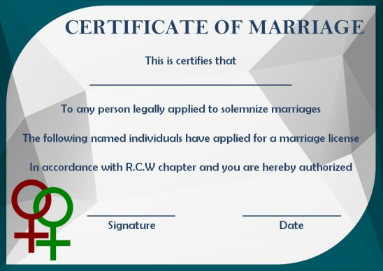 Gay Marriage Certificate Template