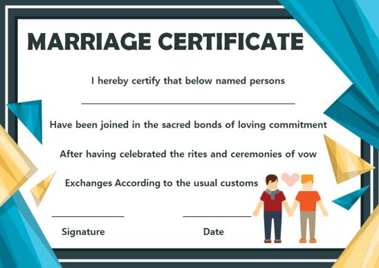 Gay Marriage Certificate Template Editable
