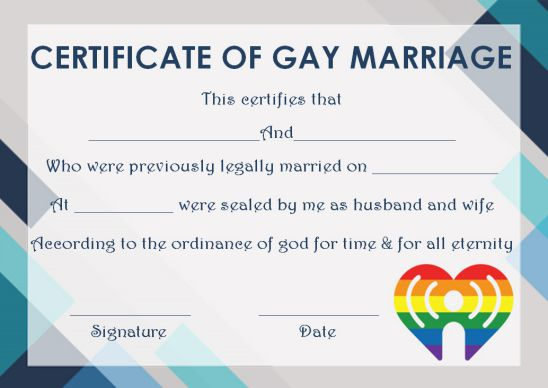 Gay Marriage Certificate Template Printable