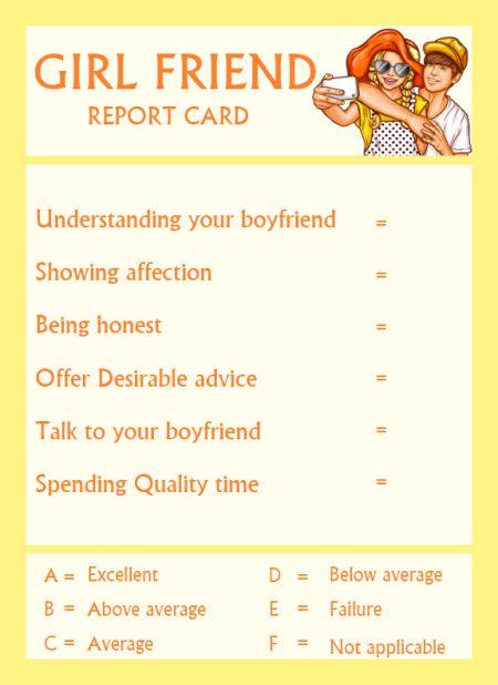 Girlfriend ReportCard Template