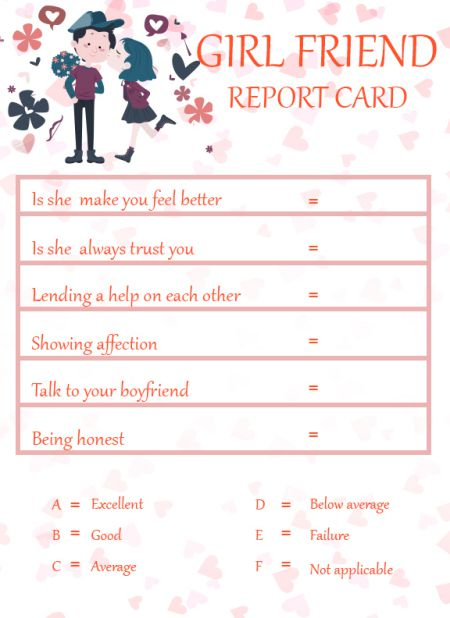 Girlfriend ReportCard Template Free