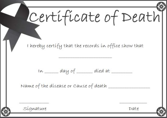 Haunted Mansion Death Certificate Template