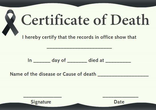 Hospital Death Certificate Template
