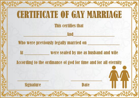 Lesbian Marriage Certificate Template