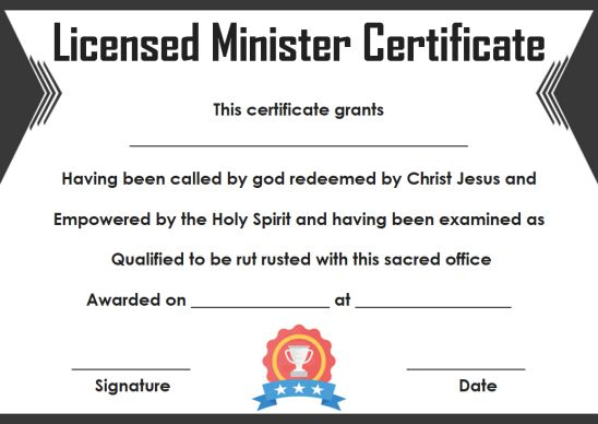 Licensed Minister Certificate