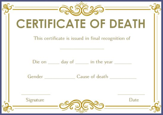 Medical Death Certificate Template