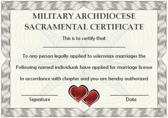 Military Archdiocese Sacramental Certificate
