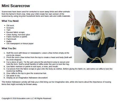 Mini Scarecrow Template