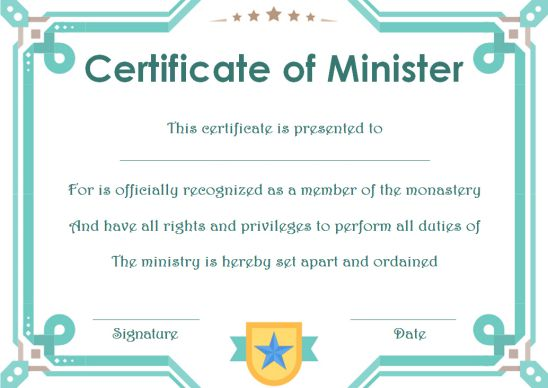 Minister License ID Card Template