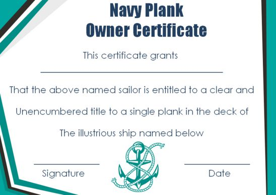 Navy Plank Owner Certificate