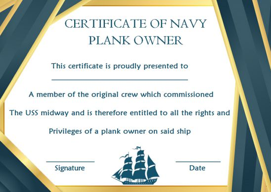 Navy Plank Owner Certificate Template