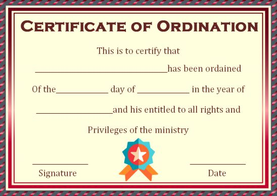 Ordination Minister Certificate Template