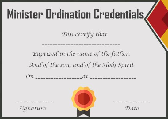 Ordination Minister Credentials