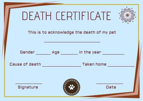 Pet Death Certificate Template Free