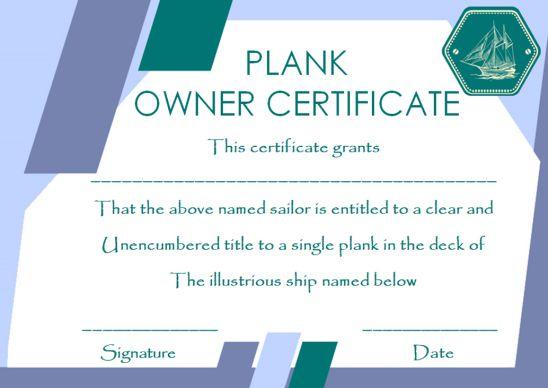 Plank Owner Certificate Frame