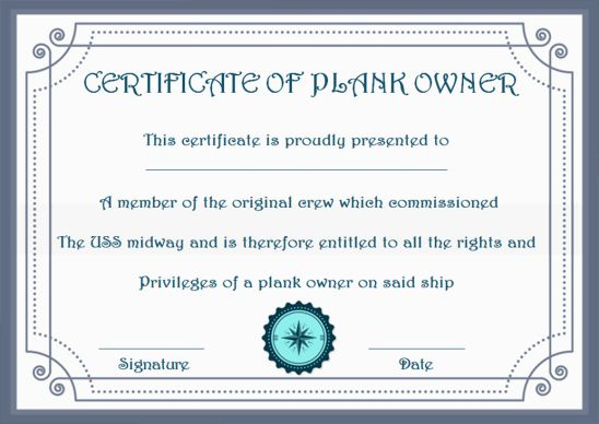 Plank Owner Certificate Frame Template