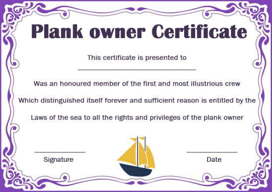Plank Owner Certificate Personalized