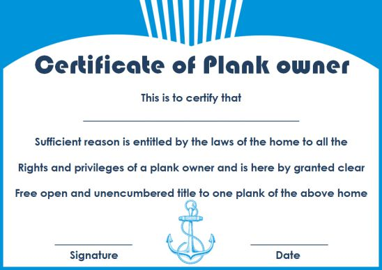 Plank Owner Certificate Personalized Template
