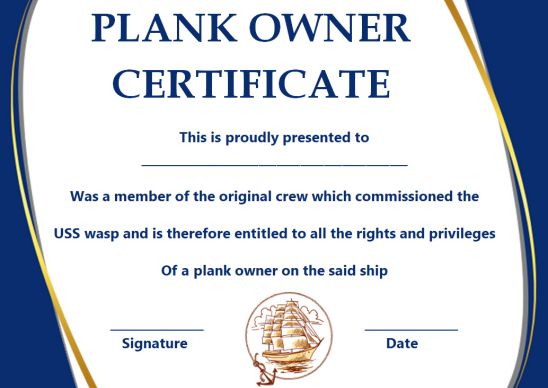 Plank Owner Certificate Template