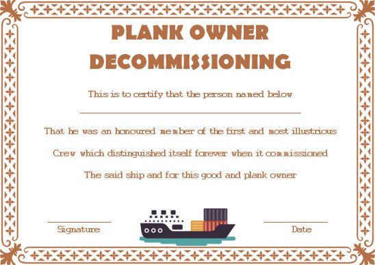 Plank Owner Decommissioning