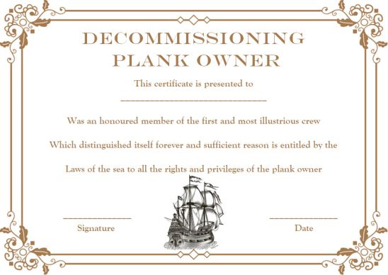 Plank Owner Decommissioning Template