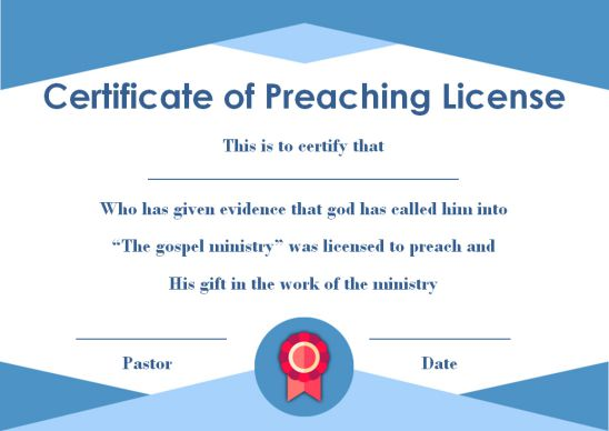 Preaching License Certificate