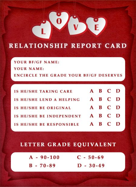 Relationship ReportCard Template