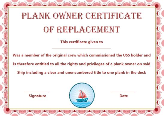 Replacement Plank Owner Certificate