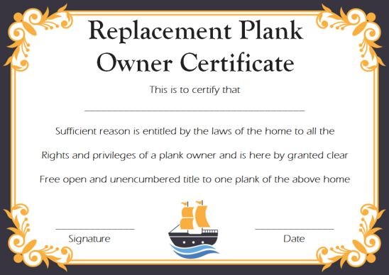Replacement Plank Owner Certificate Template